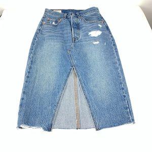Levi's Deconstructed Pencil Denim Skirt